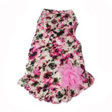 Vintage Floral Dog Dress with Satin Bow - Dusty Rose