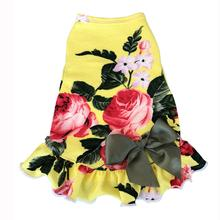 Vintage Floral Dog Dress with Satin Bow - Yellow Rose