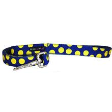 WaLk-e-Woo Neon Yellow Dot on Blue Dog Leash