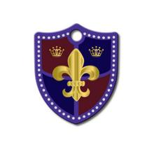 Large Shield Engravable Pet I.D. Tag - Fleur
