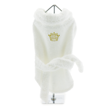 White Gold Crown Cotton Dog Bathrobe by Doggie Design