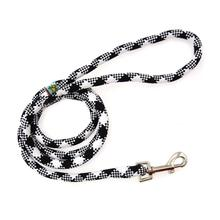 White Plaid Braided Dog Leash by Yellow Dog - Black
