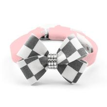 Windsor Check Nouveau Bow Luxury Dog Collar by Susan Lanci - Puppy Pink