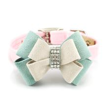 Hope Bow Luxury Dog Collar by Susan Lanci - Puppy Pink