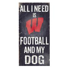 Wisconsin Badgers Football and My Dog Wood Sign