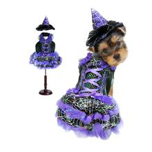 Witch Dog Halloween Costume - Purple