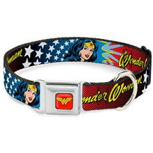 Wonder Woman Face and Stars Seatbelt Buckle Dog Collar by Buckle-Down