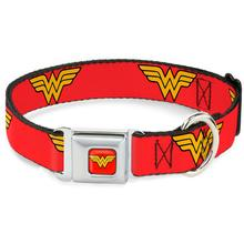 Wonder Woman Logo Seatbelt Buckle Dog Collar by Buckle-Down - Red