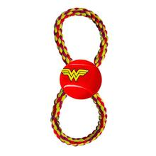 Wonder Woman Rope Tennis Ball Dog Toy by Buckle-Down - Red/Yellow