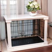 Wood and Wire End Table Dog Cage - White