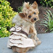 Wool Fur-Trimmed Dog Harness Coat by Doggie Design - Camel