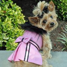 Wool Fur-Trimmed Dog Harness Coat by Doggie Design - Pink