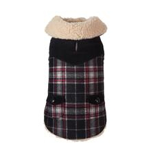 Wool Plaid Shearling Dog Jacket - Black