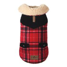 fabdog® Wool Plaid Shearling Dog Jacket - Red