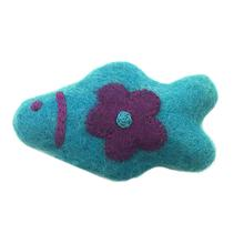 Wooly Wonkz Woodland Cat Toy - Teal Fish