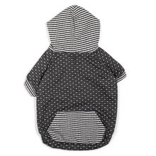 Worthy Dog Dot and Stripe Dog Hoodie - Gray