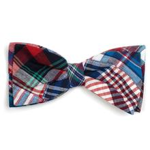 Worthy Dog Madras Dog and Cat Bow Tie Collar Attachment - Blue Multi Patch