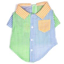 Worthy Dog Gingham Colorblock Dog Shirt