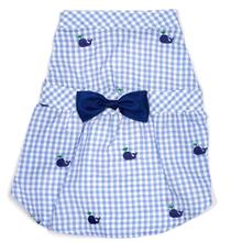 Worthy Dog Gingham Whales Dog Dress