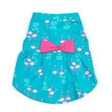 Worthy Dog Flamingos Dog Dress - Teal