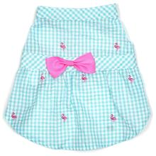 Worthy Dog Gingham Flamingos Dog Dress