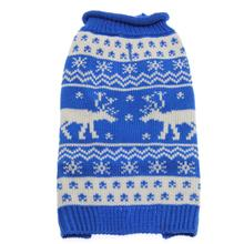 Worthy Dog Holiday Ski Dog Sweater - Reindeer Blue
