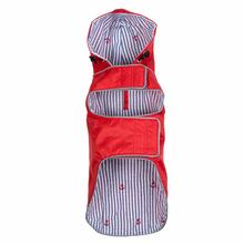 Worthy Dog Seattle Slicker Dog Raincoat - Red/Navy Stripe