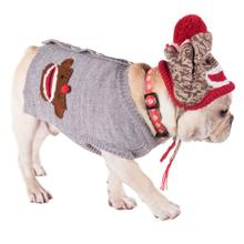 Worthy Dog Sock Monkey Dog Cardigan - Gray