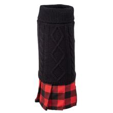 Worthy Dog Turtleneck Dog Dress - Black with Red Buffalo Skirt