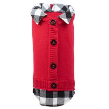 Worthy Dog Two-Fer Cardigan Dog Sweater - Red Buffalo