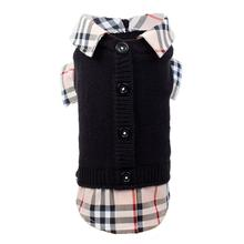 Worthy Dog Two-Fer Cardigan Dog Sweater - Black Tan Plaid