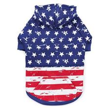Zack and Zoey Distressed-Look American Flag Dog Hoodie