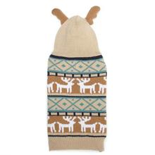 Zack and Zoey Elements Antler Dog Sweater - Taupe