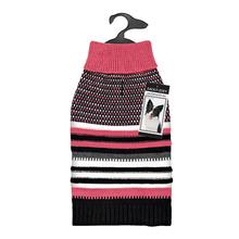 Zack and Zoey Elements Speckle Striped Dog Sweater - Pink and Black