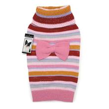 Zack and Zoey Multi Stripe Bow Dog Sweater - Pink