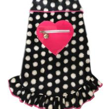 Zippered Pink Heart Pullover Dress - Black and White Dots