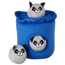 ZippyPaws Burrow Dog Toy - Raccoon Trash Can with Bubble Babiez