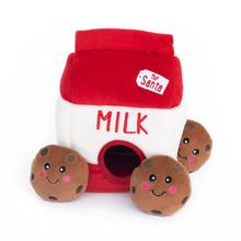 ZippyPaws Holiday Burrow Dog Toy - Santa's Milk and Cookies