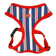 Zorion Striped Dog Harness by Puppia - Navy Stripes with Red Trim