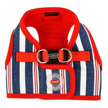 Zorion Striped Vest Dog Harness by Puppia - Navy Stripes with Red Lining