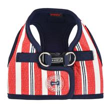 Zorion Striped Vest Dog Harness by Puppia - Red Stripes with Navy Lining